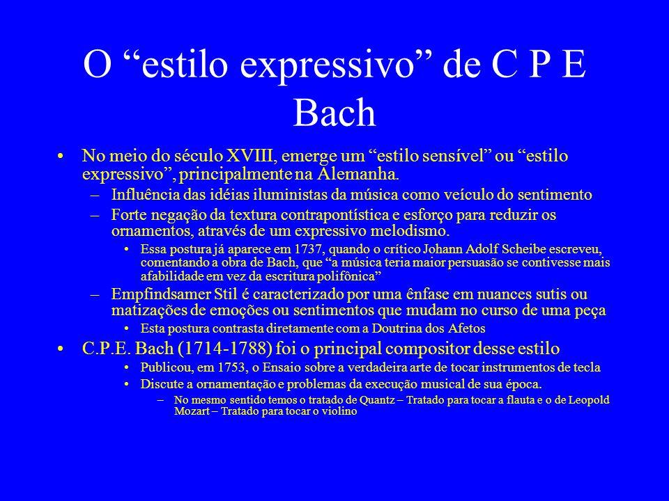 O estilo expressivo de C P E Bach