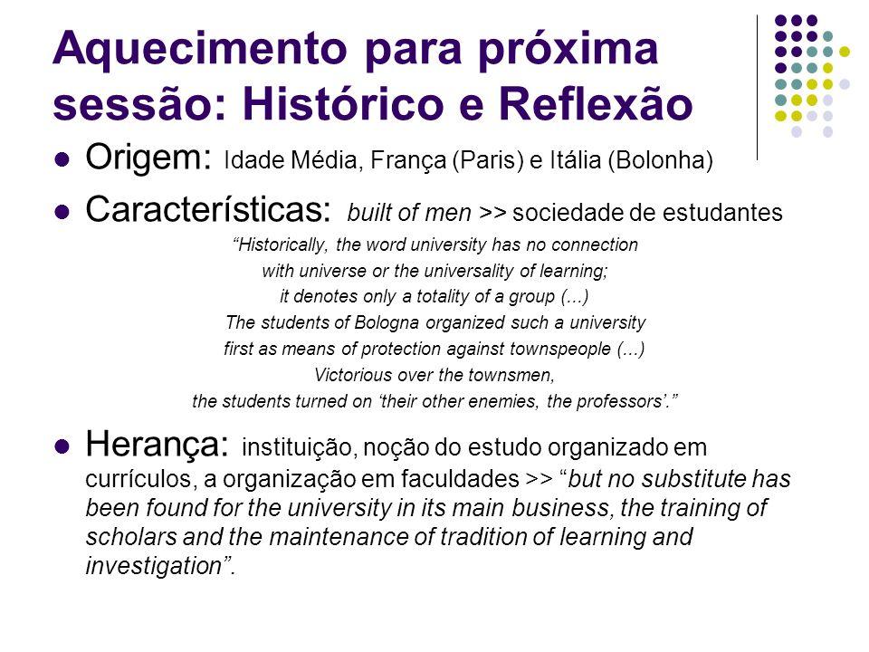 Aquecimento para próxima sessão: Histórico e Reflexão