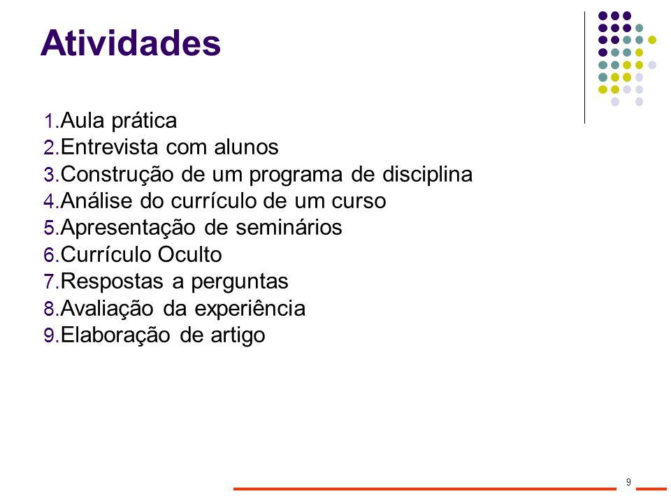 Atividades Aula prática Entrevista com alunos