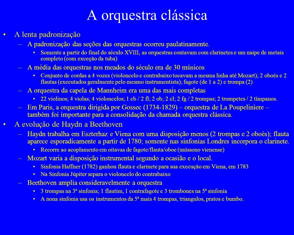 A orquestra clássica A lenta padronização