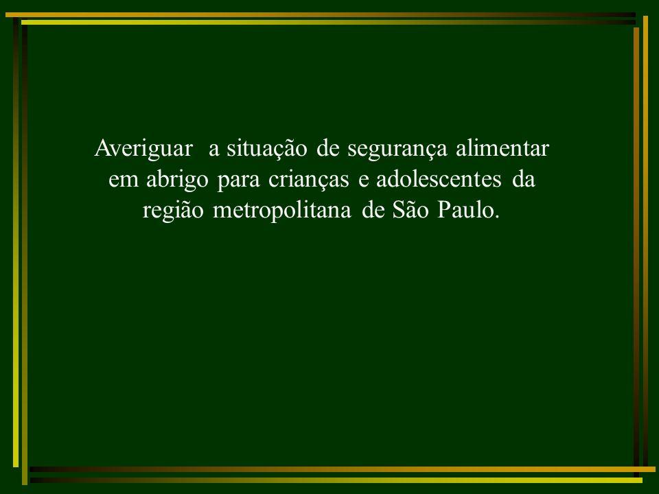 Averiguar a situação de segurança alimentar em abrigo para crianças e adolescentes da região metropolitana de São Paulo.