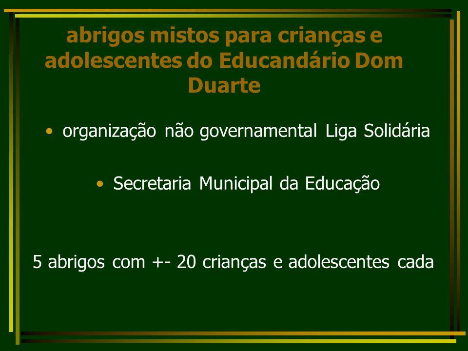 abrigos mistos para crianças e adolescentes do Educandário Dom Duarte