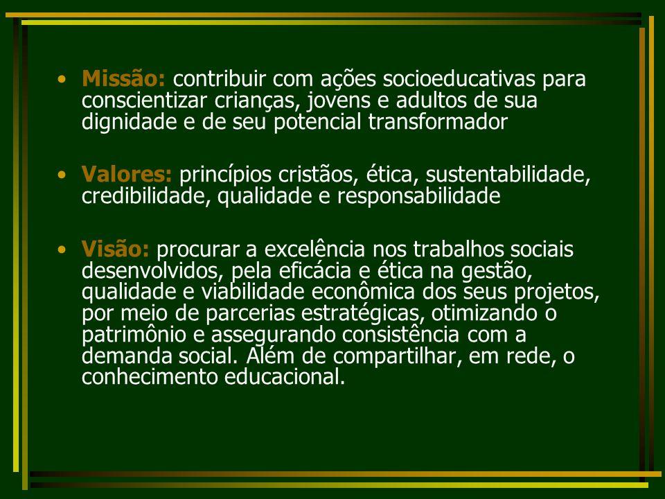Missão: contribuir com ações socioeducativas para conscientizar crianças, jovens e adultos de sua dignidade e de seu potencial transformador