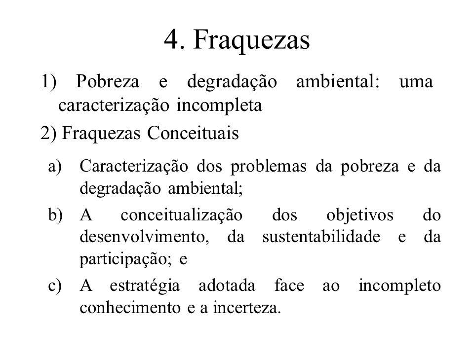 4. Fraquezas1) Pobreza e degradação ambiental: uma caracterização incompleta. 2) Fraquezas Conceituais.