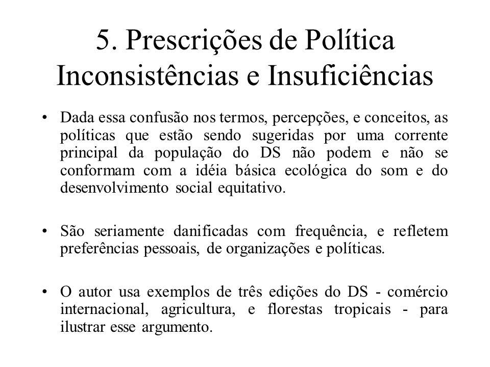 5. Prescrições de Política Inconsistências e Insuficiências