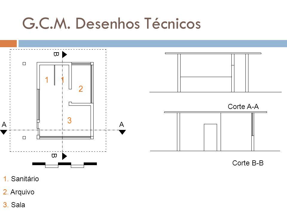 G.C.M. Desenhos Técnicos 1 1 2 3 B Corte A-A A A B Corte B-B