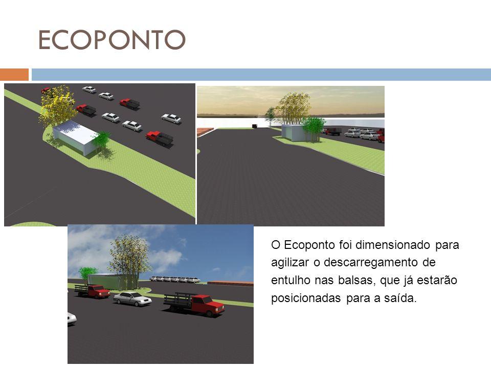 ECOPONTO O Ecoponto foi dimensionado para agilizar o descarregamento de entulho nas balsas, que já estarão posicionadas para a saída.