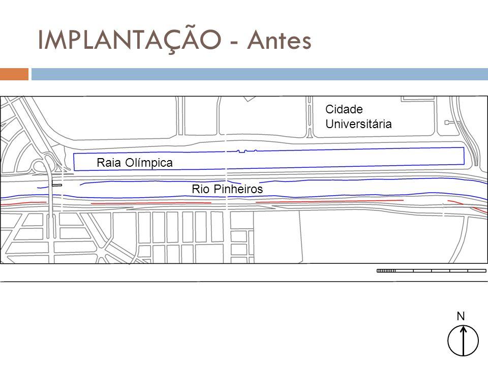 IMPLANTAÇÃO - Antes Cidade Universitária Raia Olímpica Rio Pinheiros N