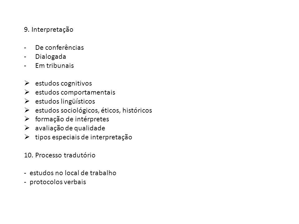 9. Interpretação De conferências. Dialogada. Em tribunais. estudos cognitivos. estudos comportamentais.