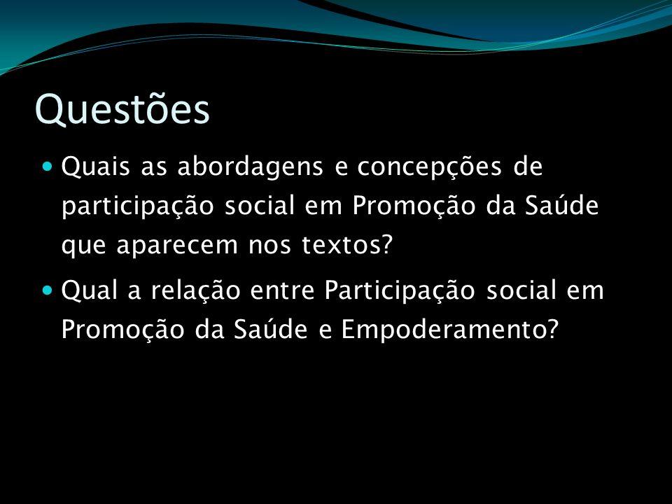 Questões Quais as abordagens e concepções de participação social em Promoção da Saúde que aparecem nos textos