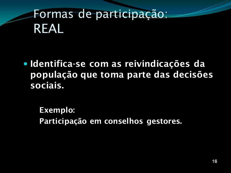 Formas de participação: REAL
