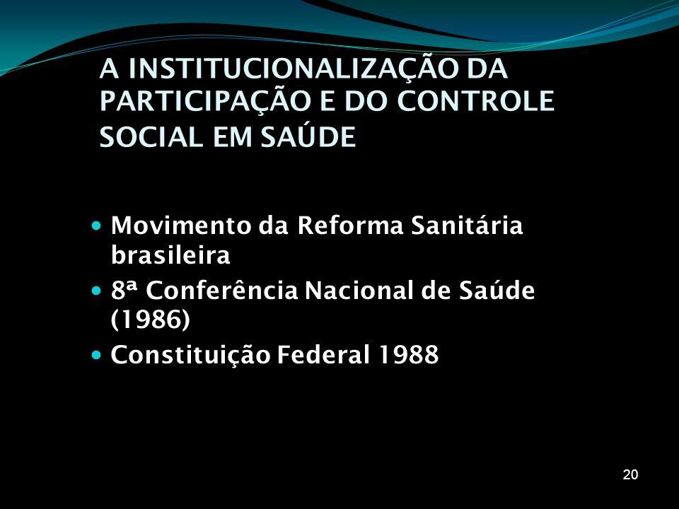 A INSTITUCIONALIZAÇÃO DA PARTICIPAÇÃO E DO CONTROLE SOCIAL EM SAÚDE