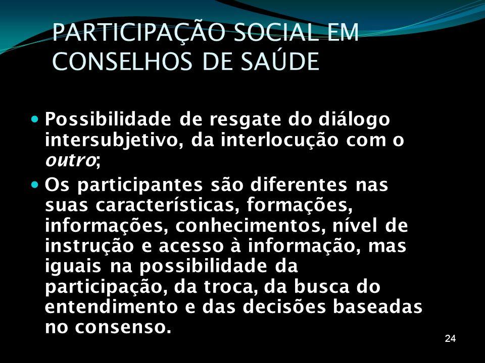 PARTICIPAÇÃO SOCIAL EM CONSELHOS DE SAÚDE