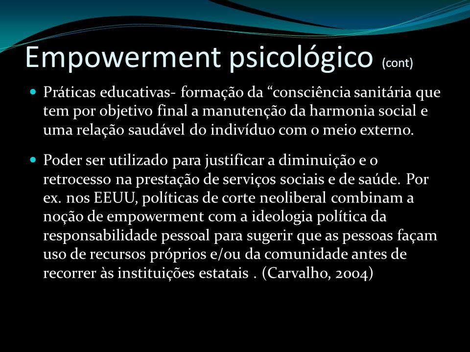 Empowerment psicológico (cont)