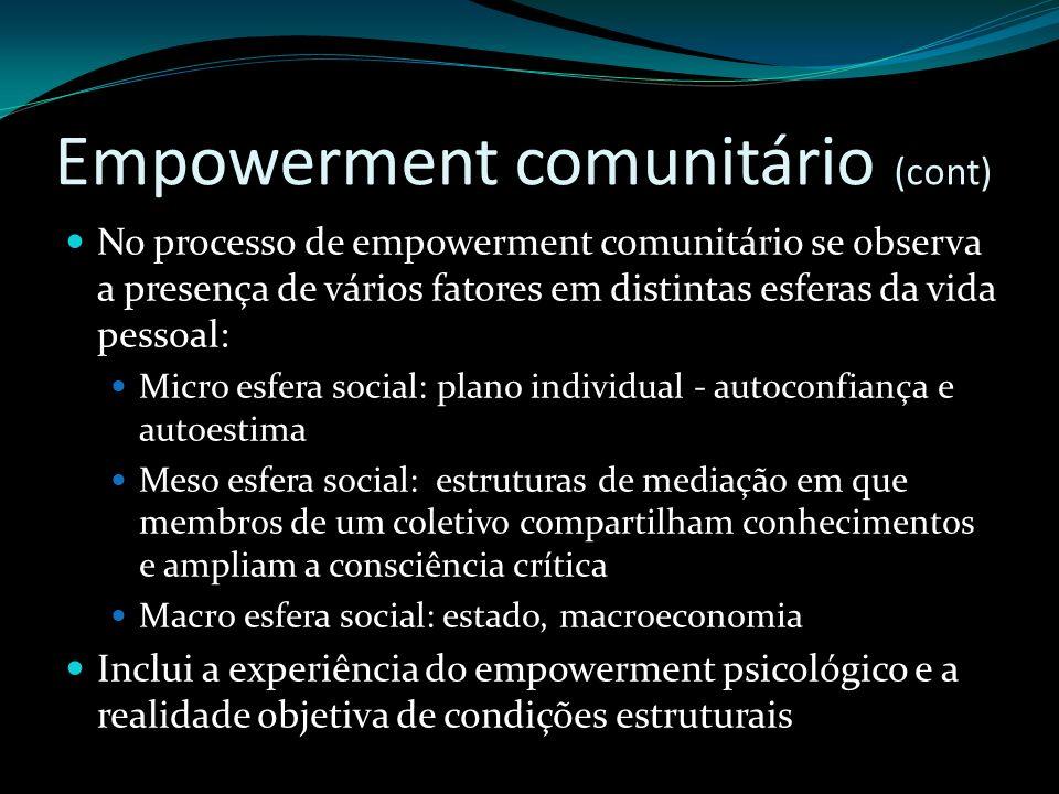 Empowerment comunitário (cont)