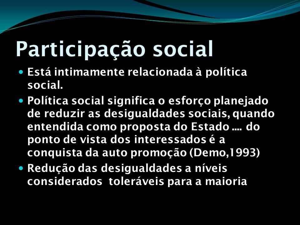 Participação social Está intimamente relacionada à política social.