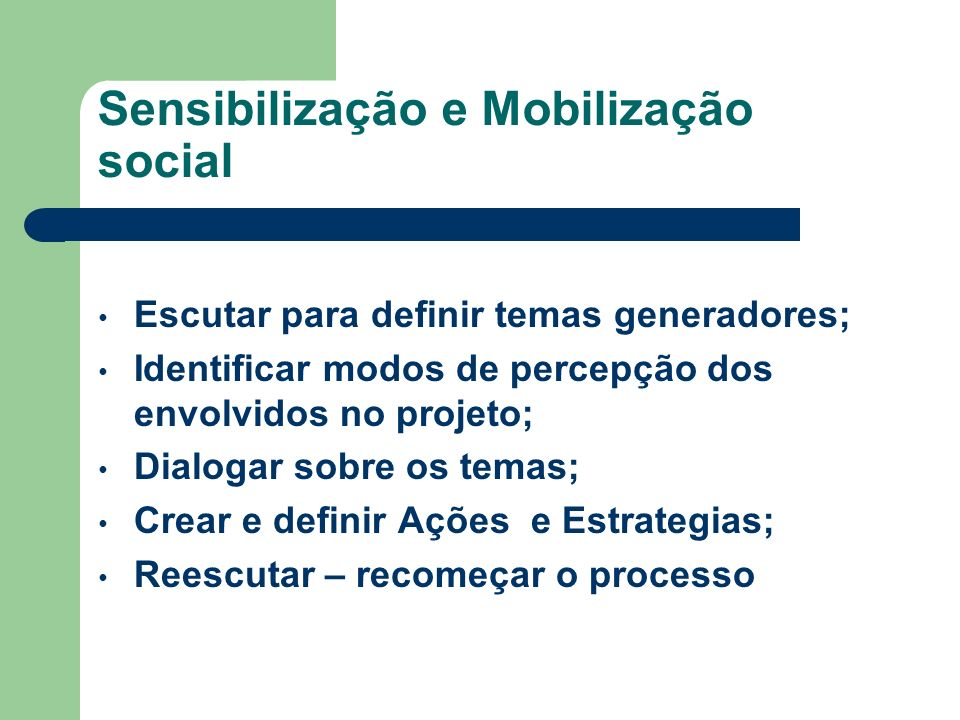 Sensibilização e Mobilização social