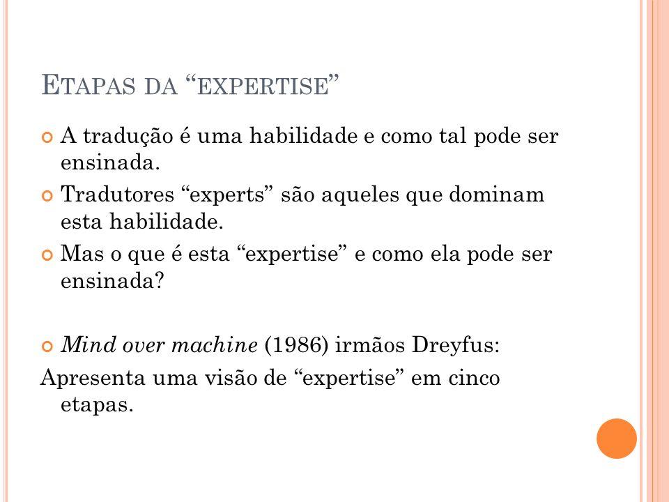 Etapas da expertise A tradução é uma habilidade e como tal pode ser ensinada. Tradutores experts são aqueles que dominam esta habilidade.