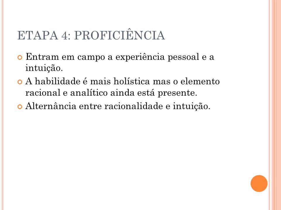 ETAPA 4: PROFICIÊNCIA Entram em campo a experiência pessoal e a intuição.