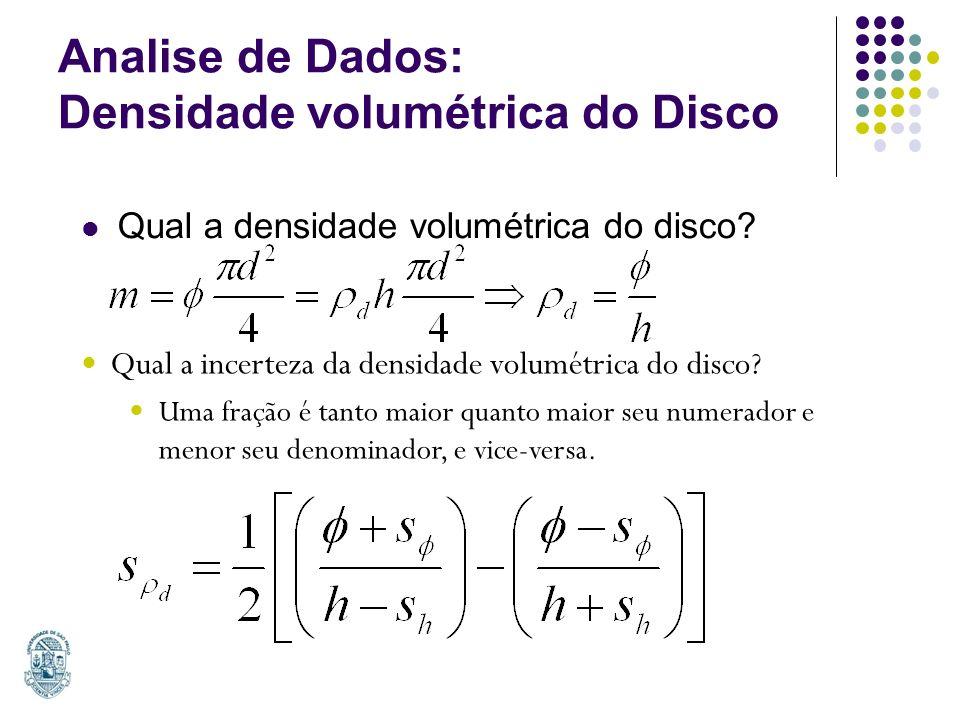 Analise de Dados: Densidade volumétrica do Disco
