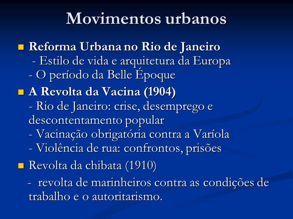 Movimentos urbanosReforma Urbana no Rio de Janeiro - Estilo de vida e arquitetura da Europa - O período da Belle Époque