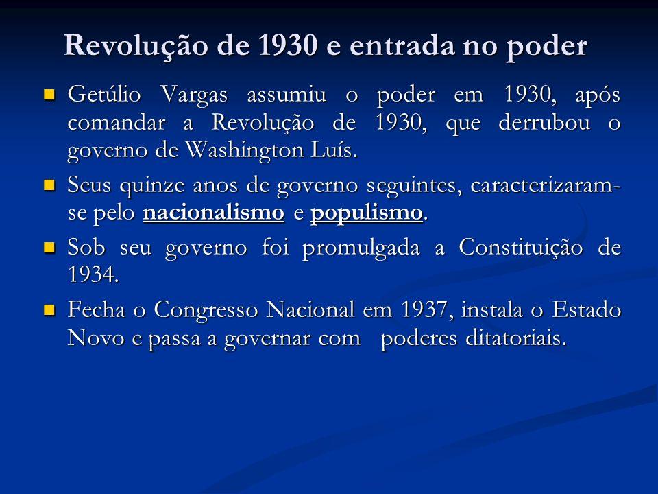 Revolução de 1930 e entrada no poder