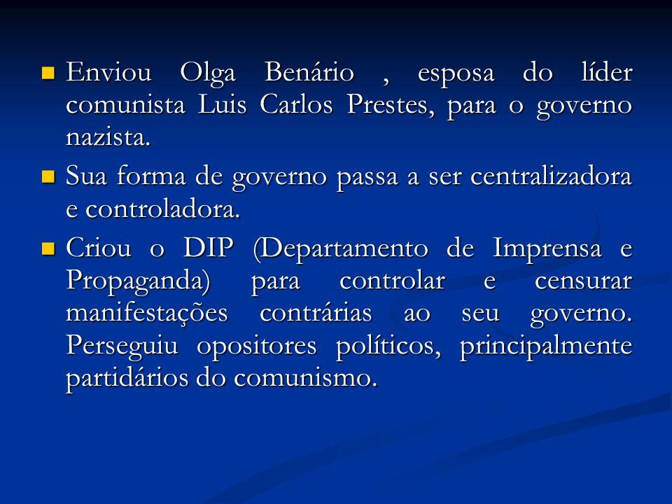 Enviou Olga Benário , esposa do líder comunista Luis Carlos Prestes, para o governo nazista.