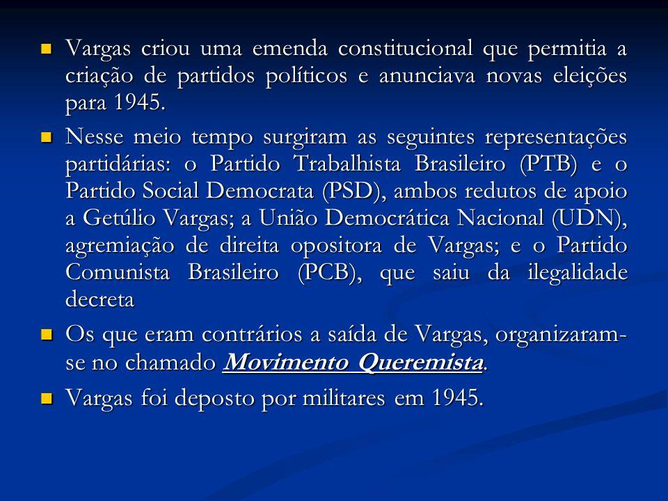 Vargas foi deposto por militares em 1945.