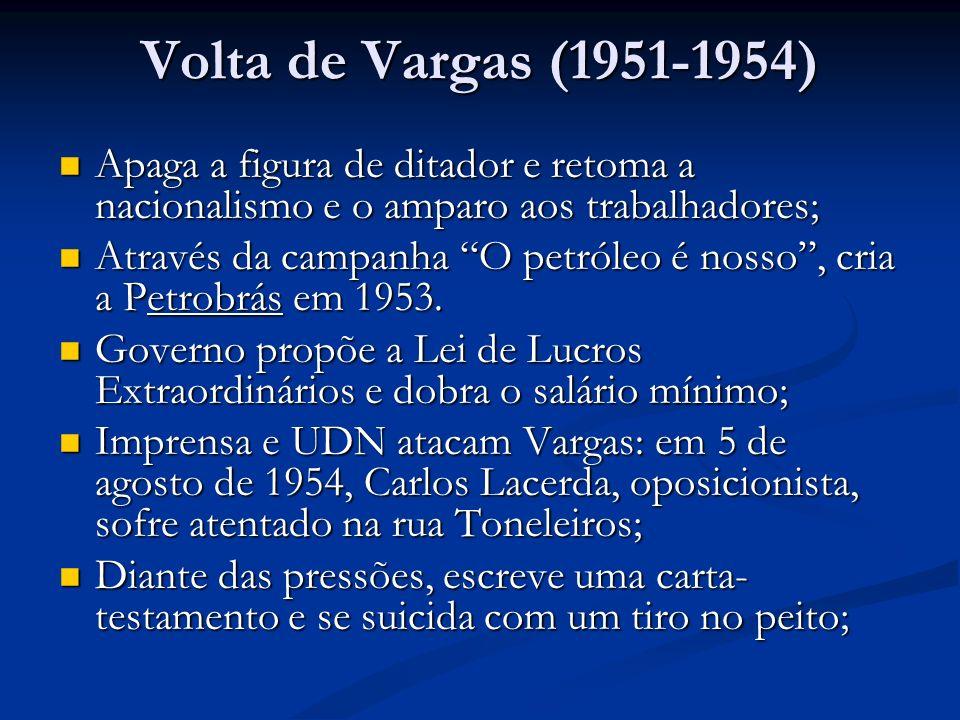 Volta de Vargas (1951-1954) Apaga a figura de ditador e retoma a nacionalismo e o amparo aos trabalhadores;