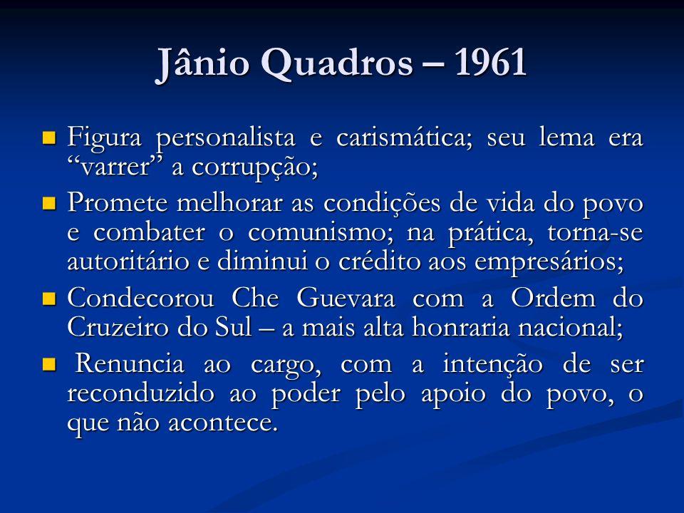 Jânio Quadros – 1961Figura personalista e carismática; seu lema era varrer a corrupção;