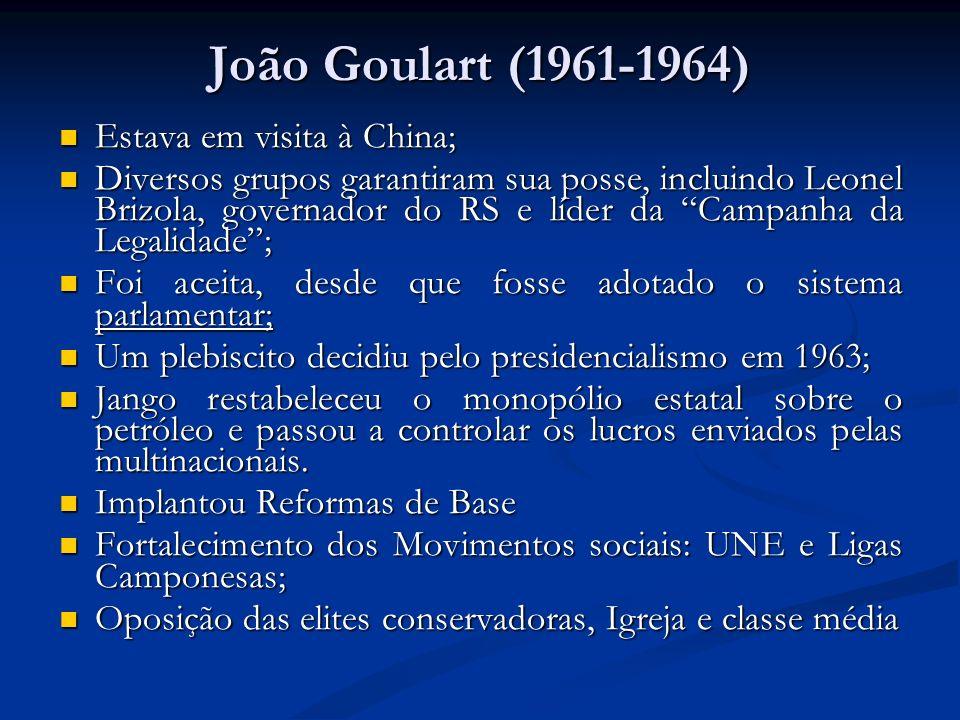 João Goulart (1961-1964) Estava em visita à China;