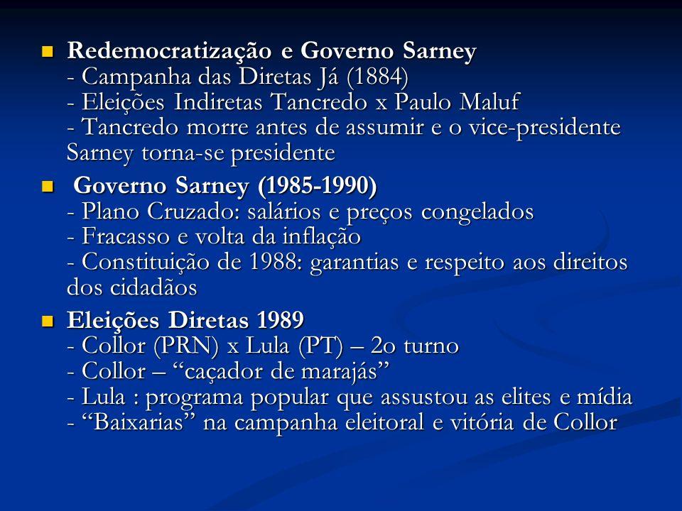 Redemocratização e Governo Sarney - Campanha das Diretas Já (1884) - Eleições Indiretas Tancredo x Paulo Maluf - Tancredo morre antes de assumir e o vice-presidente Sarney torna-se presidente