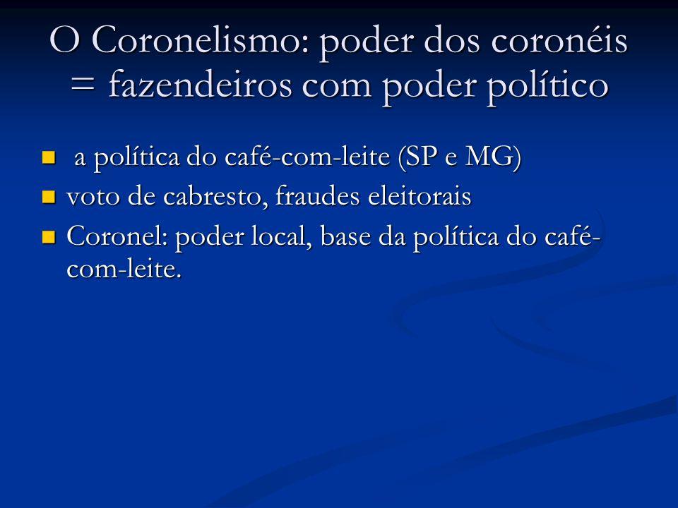 O Coronelismo: poder dos coronéis = fazendeiros com poder político