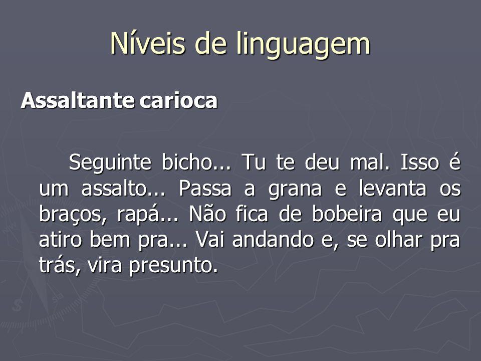 Níveis de linguagem Assaltante carioca