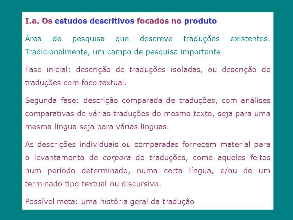 I.a. Os estudos descritivos focados no produto