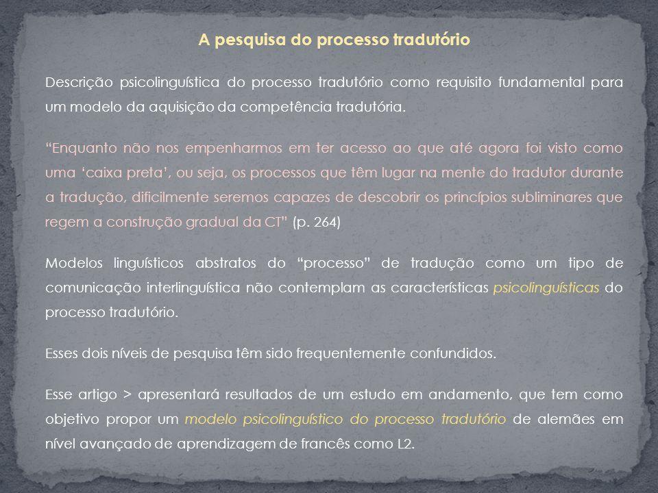 A pesquisa do processo tradutório