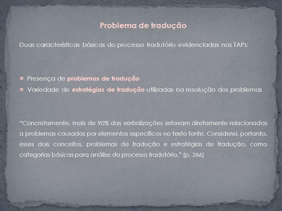 Problema de tradução Duas características básicas do processo tradutório evidenciadas nos TAPs: Presença de problemas de tradução.
