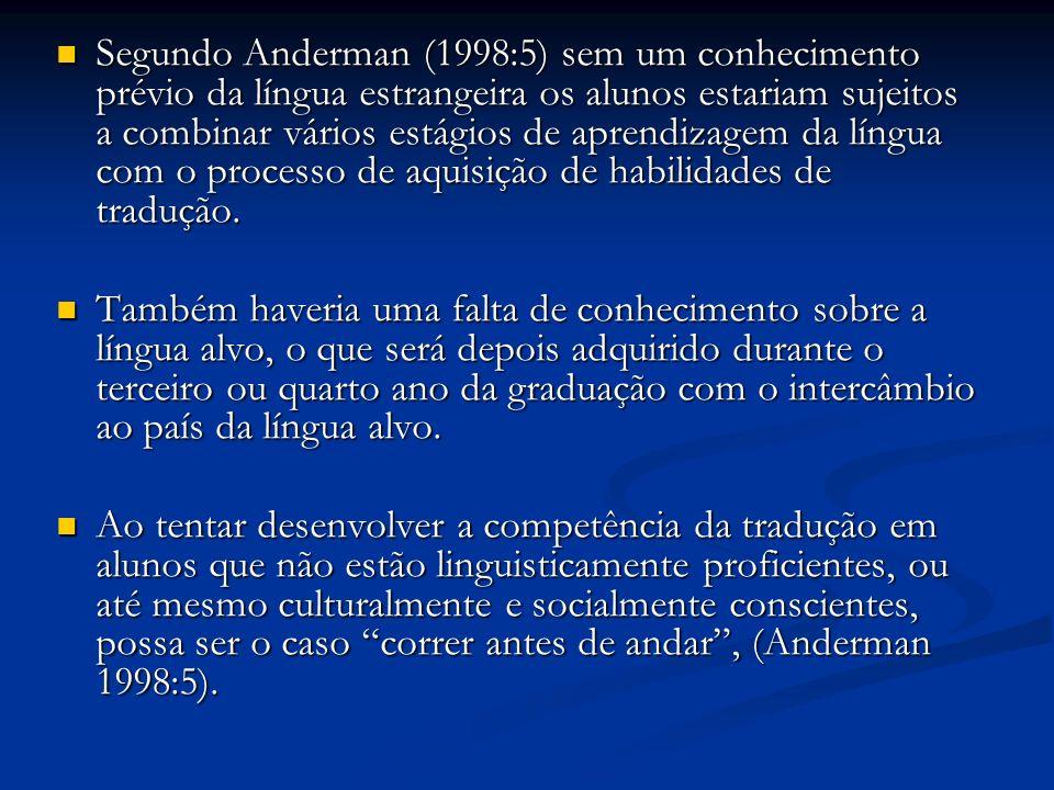 Segundo Anderman (1998:5) sem um conhecimento prévio da língua estrangeira os alunos estariam sujeitos a combinar vários estágios de aprendizagem da língua com o processo de aquisição de habilidades de tradução.