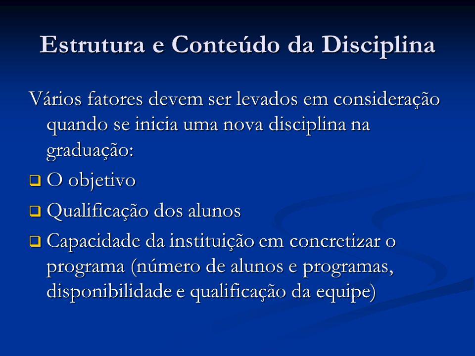 Estrutura e Conteúdo da Disciplina