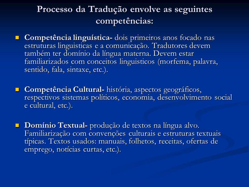 Processo da Tradução envolve as seguintes competências: