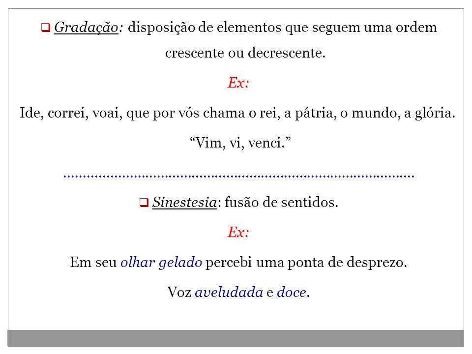 Sinestesia: fusão de sentidos.