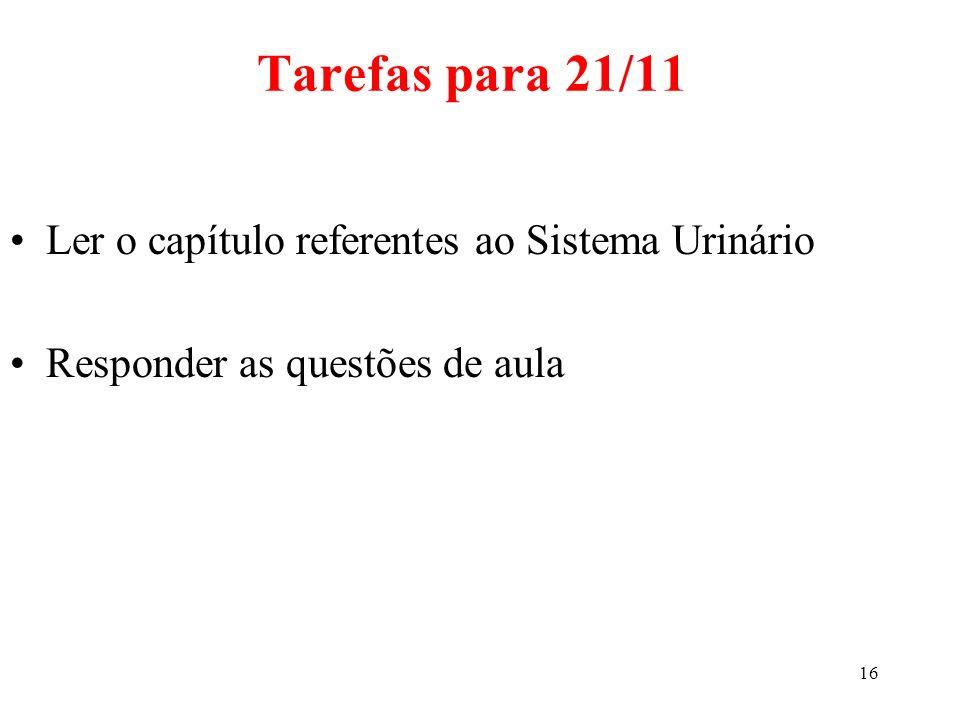 Tarefas para 21/11 Ler o capítulo referentes ao Sistema Urinário