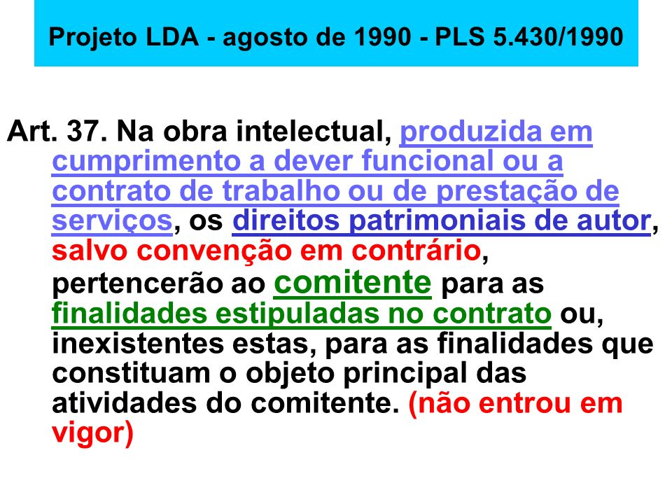 Projeto LDA - agosto de 1990 - PLS 5.430/1990