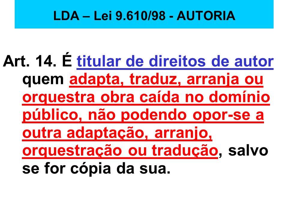LDA – Lei 9.610/98 - AUTORIA
