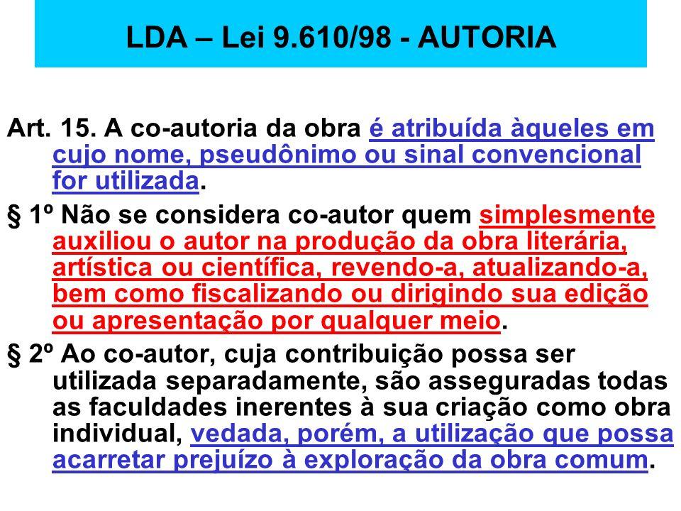 LDA – Lei 9.610/98 - AUTORIAArt. 15. A co-autoria da obra é atribuída àqueles em cujo nome, pseudônimo ou sinal convencional for utilizada.