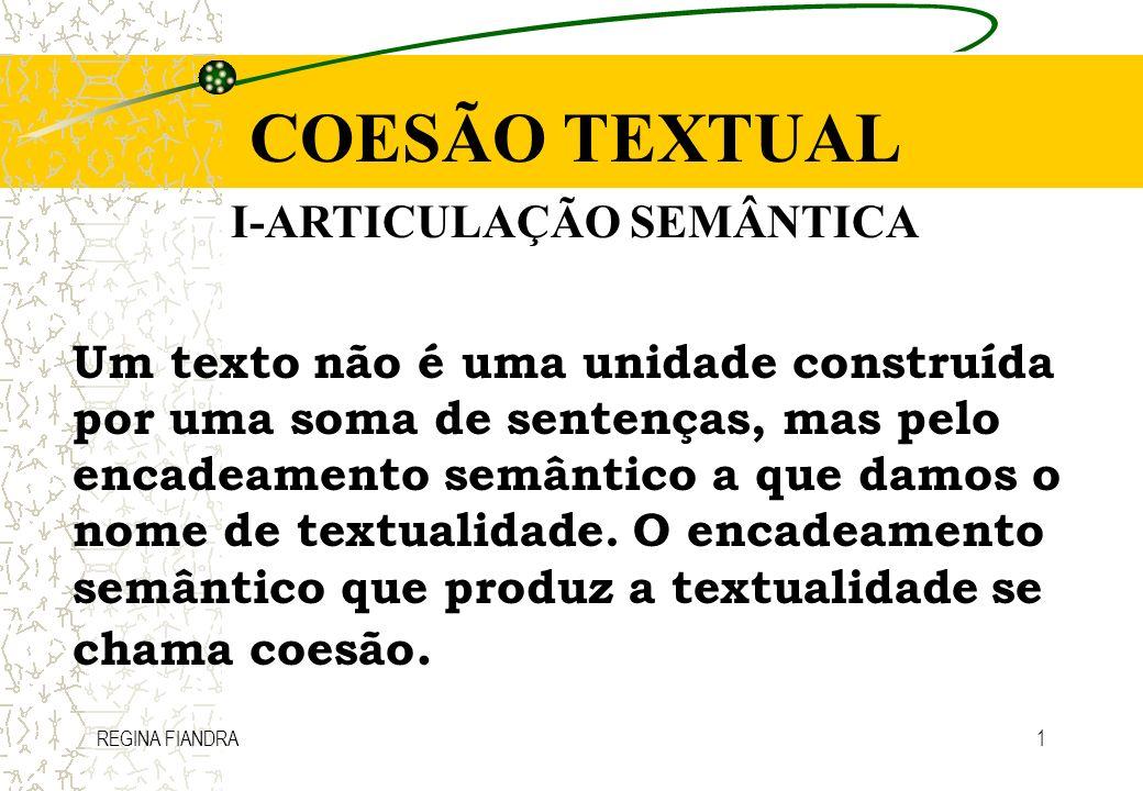 I-ARTICULAÇÃO SEMÂNTICA
