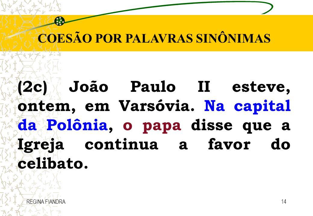 COESÃO POR PALAVRAS SINÔNIMAS