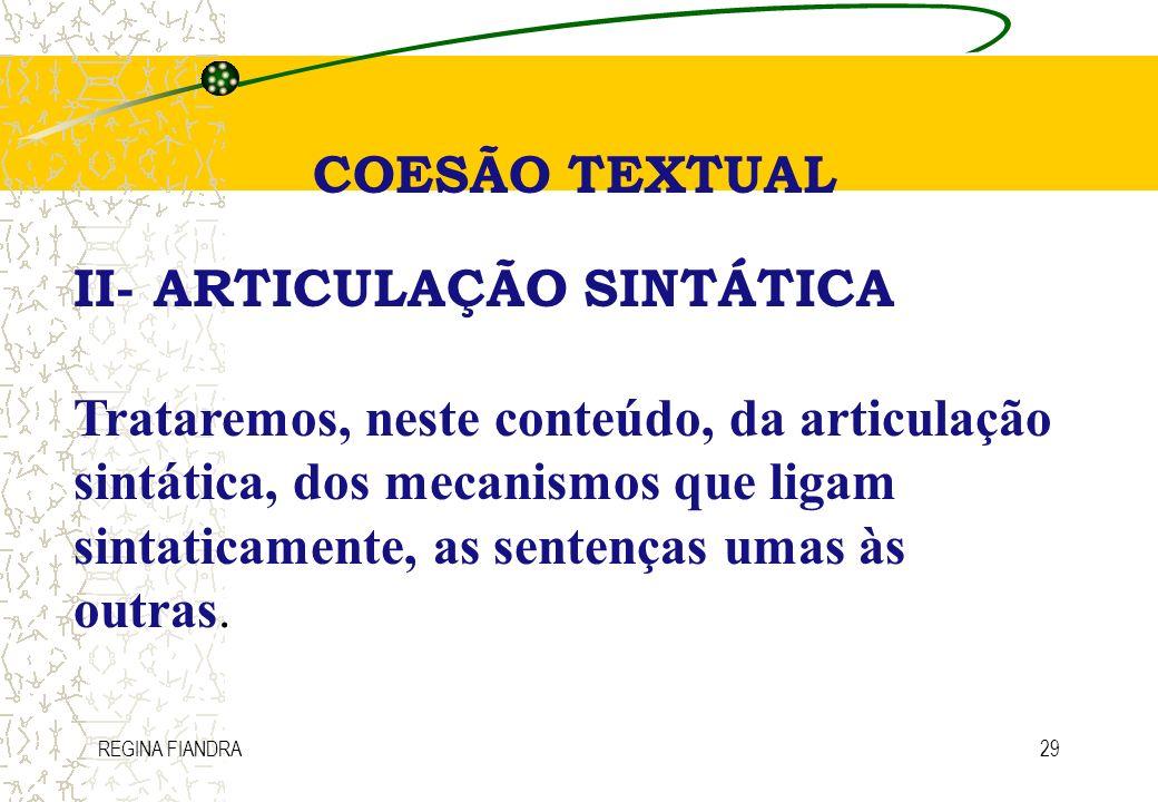 II- ARTICULAÇÃO SINTÁTICA