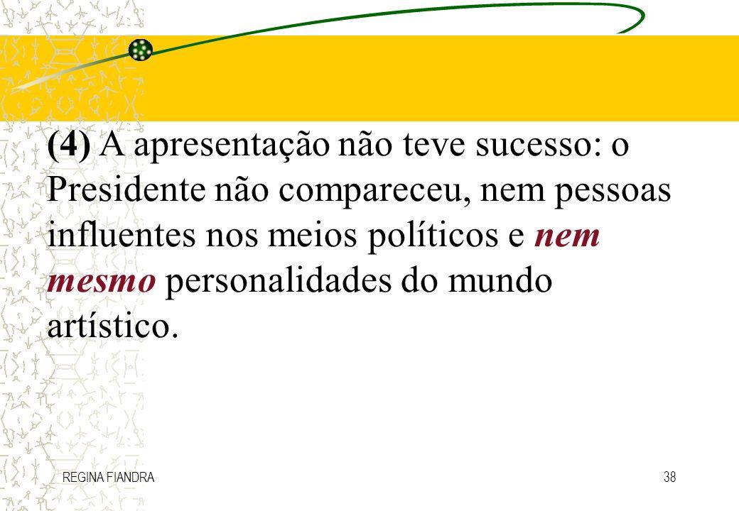 (4) A apresentação não teve sucesso: o Presidente não compareceu, nem pessoas influentes nos meios políticos e nem mesmo personalidades do mundo artístico.