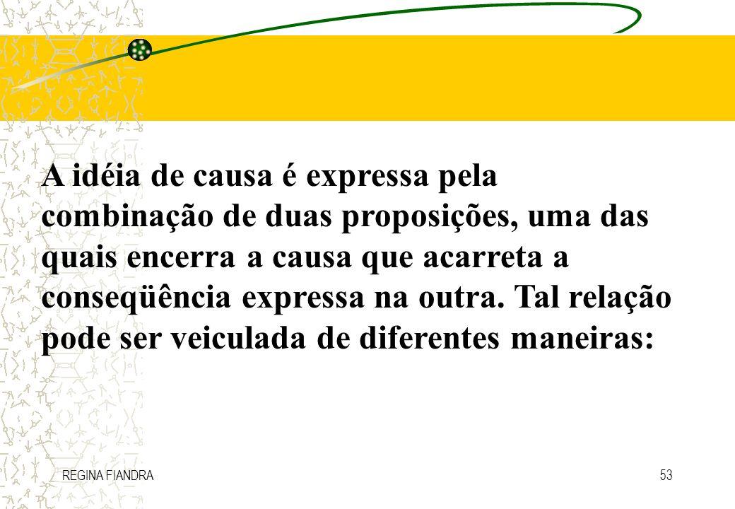 A idéia de causa é expressa pela combinação de duas proposições, uma das quais encerra a causa que acarreta a conseqüência expressa na outra. Tal relação pode ser veiculada de diferentes maneiras: